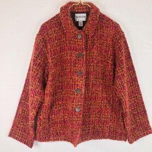 Chicos Boucle Boucle Jacket XL Orange Pink Sz 3